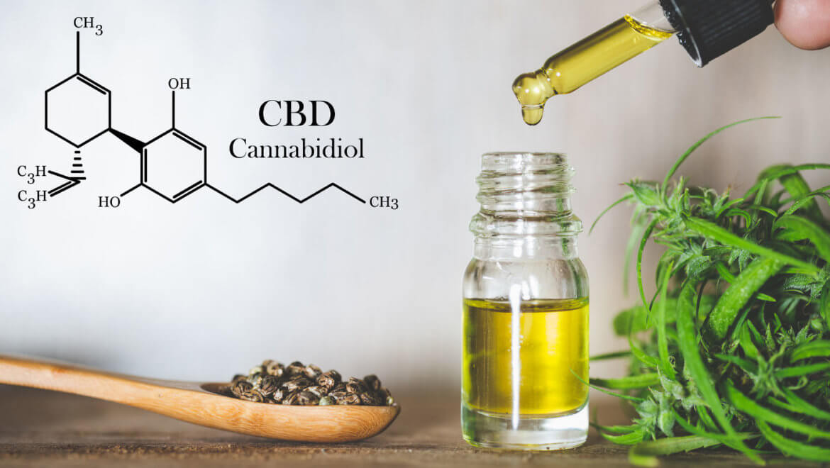 Hemp oil, CBD chemical formula, Cannabis oil in pipette and hemp seeds in a wooden spoon, Medical herb concept ( Hemp oil, CBD chemical formula, Cannabis oil in pipette and hemp seeds in a wooden spoon, Medical herb concept