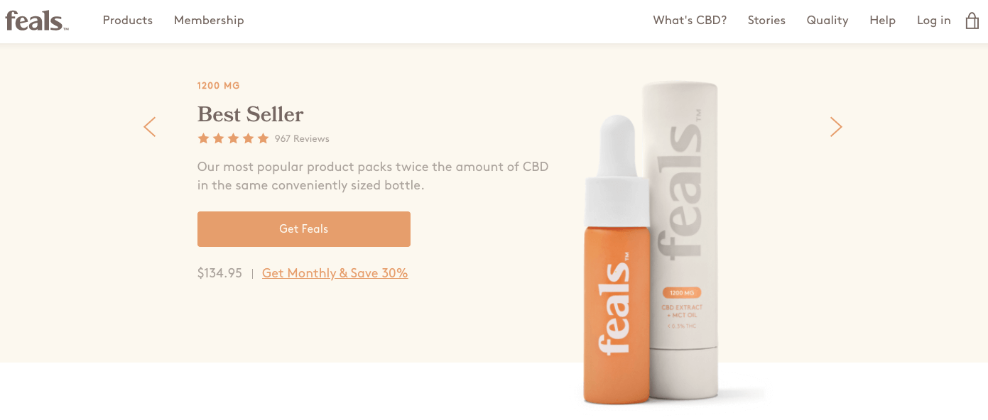 feals cbd subscription ecommerce