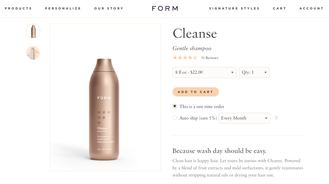 Form beauty subscriptions ecommerce