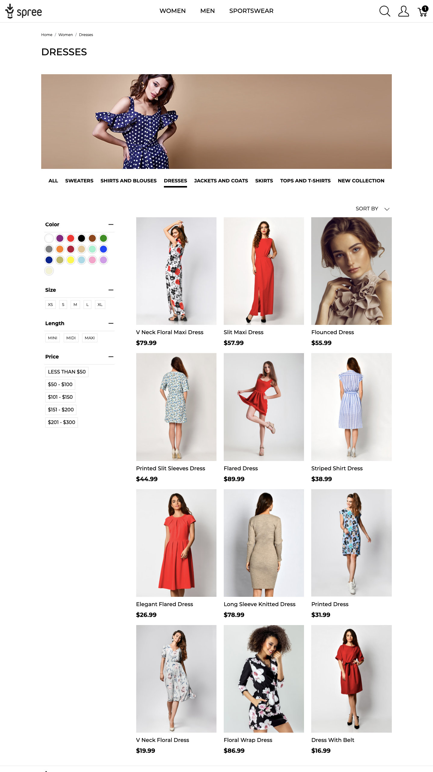 product listing page Spree online store UX demo