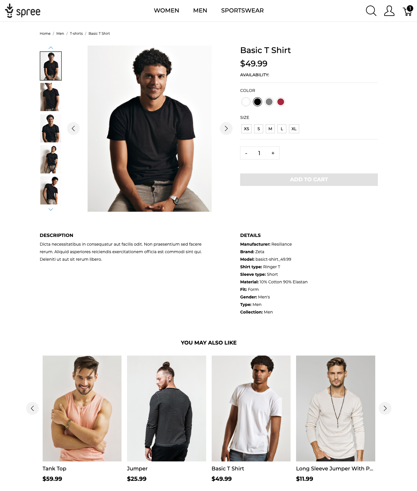 product detail page - Spree online store UX demo