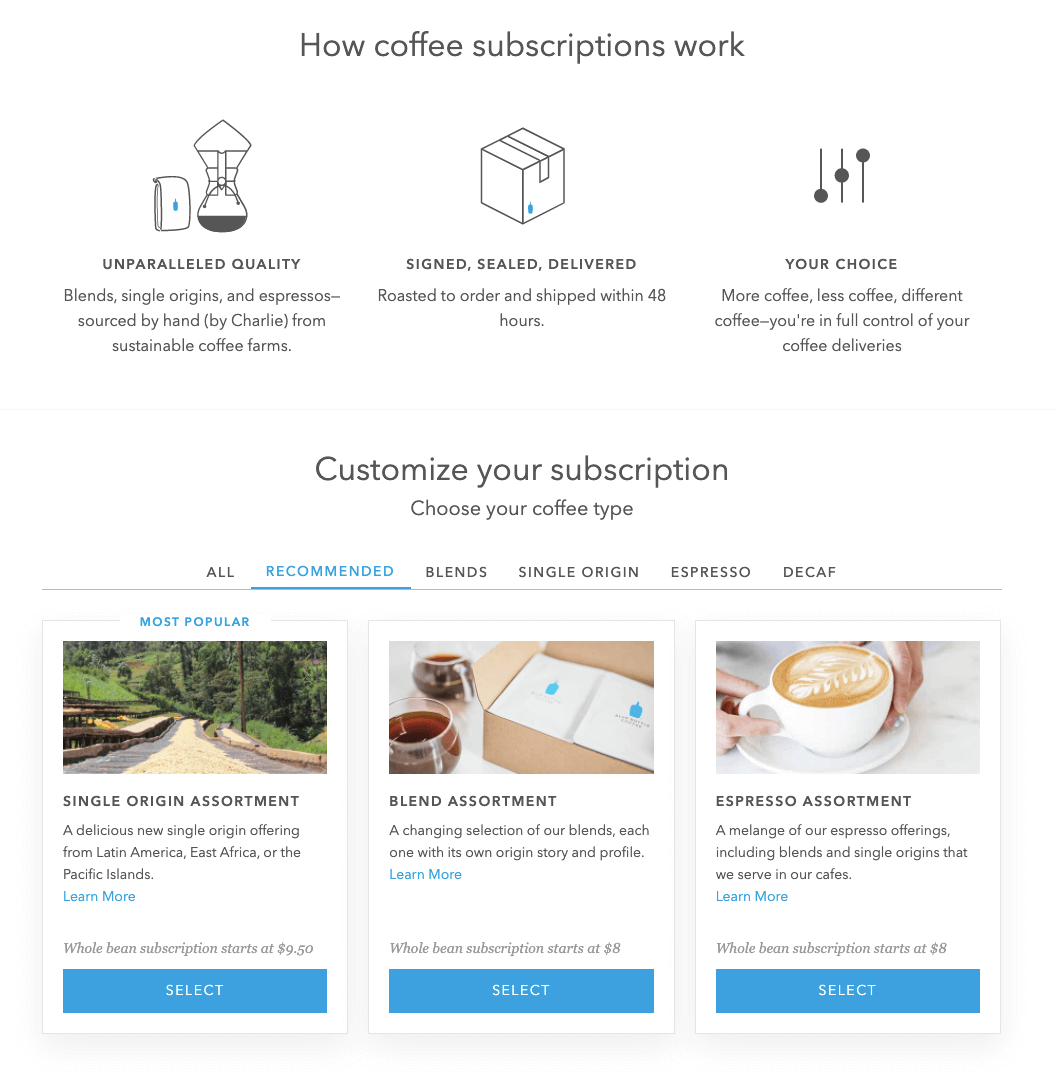 Blue Bottle Coffee Spree Commerce subscriptions