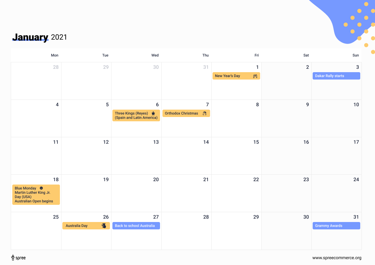 ecommerce calendar by spree commerce
