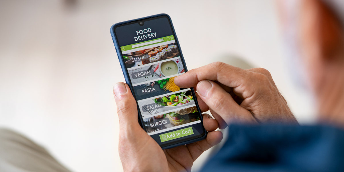 smartphone order food delivery at home